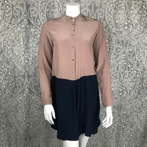 Amanda Uprichard Silk Color Block Shirt Dress S